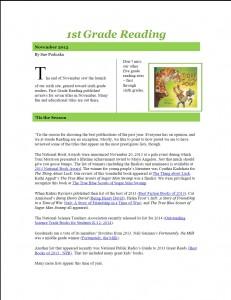 Nov 2013 1st Grade Newsletter pg1