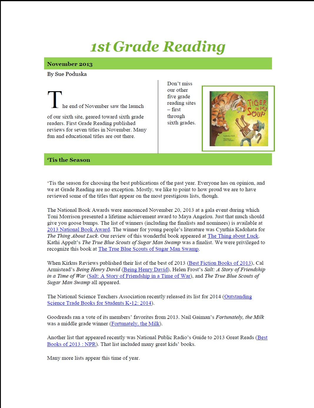 5th grade newsletter template - gradereading because reading changes lives